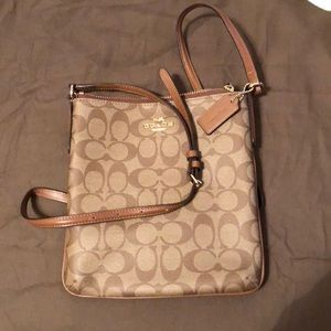 Coated leather coach brown Crossbody